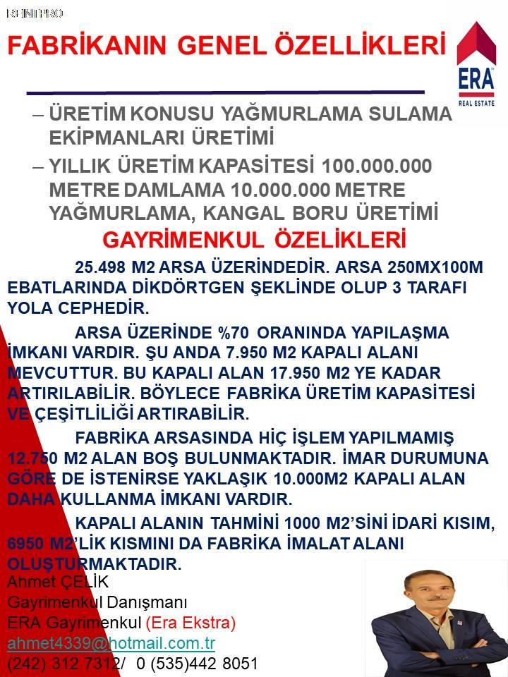Manufacturing Facility FOR SALE Türkiye Antalya DÖŞEME ALTI Real Estate Agents $37400006